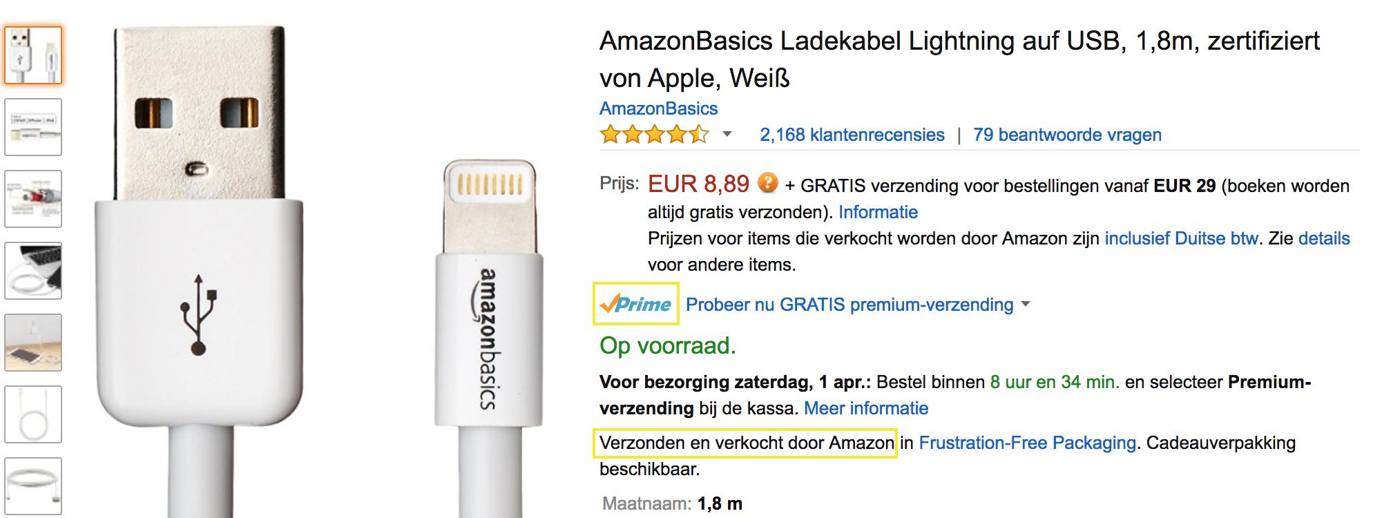 Prime + Verzonden/verkocht door Amazon